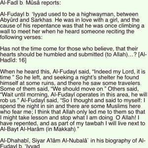repentance of Fudayl ibn Iyaad