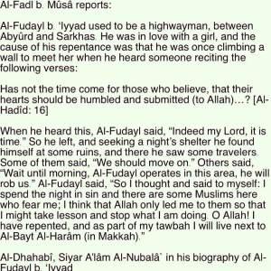 repentance of Fudayl ibn Iyaad