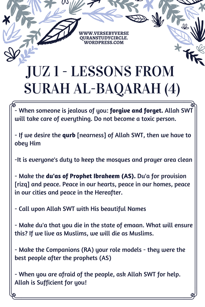 Juz 1 Summary (4) – Verse By Verse Qur'an Study Circle
