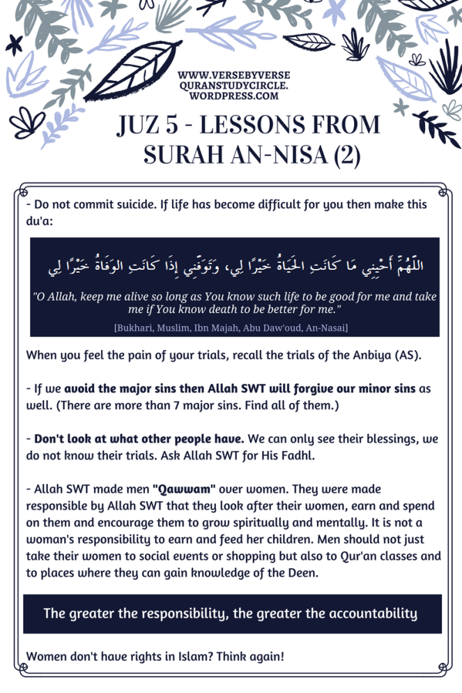 Journey through the Qur'an – Juz 5 Lessons – Verse By Verse