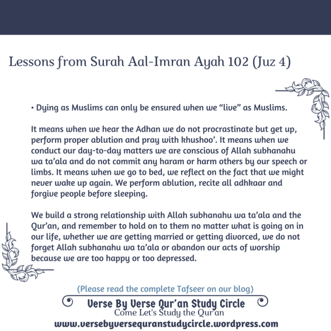 Do Not Die Except As Muslims – Verse By Verse Qur'an Study