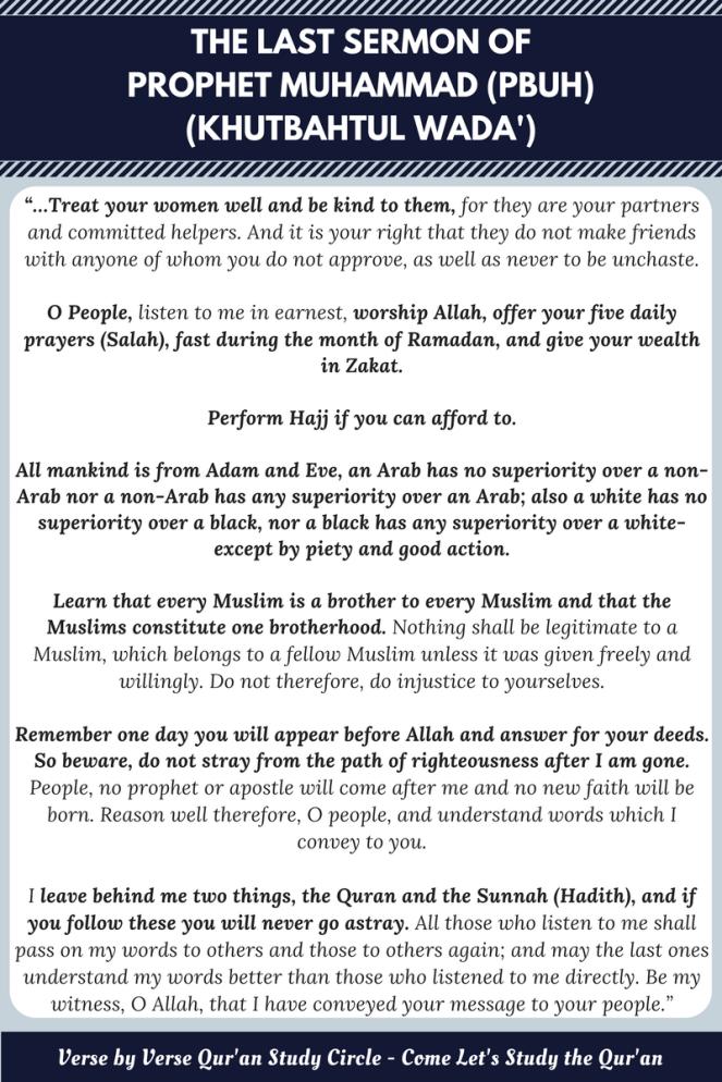 The Last Sermon of Prophet Muhammad – Khutbahtal Wada